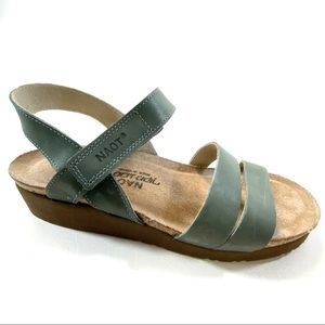 NAOT Kayla Sandals in Sea Green Leather Size 7